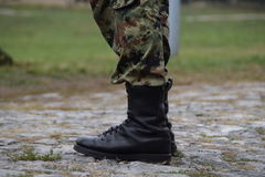 Close-up army boots Royalty Free Stock Image