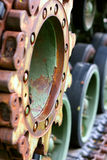 Close Up on Army Tanker Wheel Royalty Free Stock Image