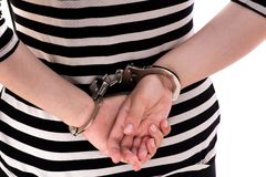 Close-up. Arrested person handcuffed. Stock Image