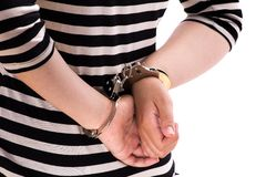 Close-up. Arrested person handcuffed. Close-up. Arrested person handcuffed wearing stripes Royalty Free Stock Photography