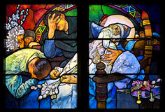 Close-up of the Art Nouveau stained glass window by Alfons Mucha, St. Vitus Cathedral, Prague Royalty Free Stock Photos
