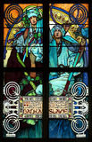 Close-up of the Art Nouveau stained glass window by Alfons Mucha, St. Vitus Cathedral, Praue Stock Photo