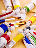 Close up of art supplies. Royalty Free Stock Photo