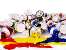 Close up of art supplies. Royalty Free Stock Image