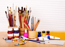 Close up of art utensils. Royalty Free Stock Photos