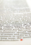 Close up of article. Close up of new paper article Royalty Free Stock Photo