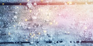 Close up of artificial snow. On wooden table Royalty Free Stock Photo