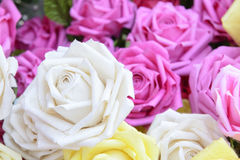 Close-up of the artificial white rose flower. Stock Image