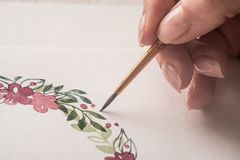 Close up of drawn flower frame with acrylic paint Royalty Free Stock Photos