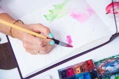 Close-up of the artist draws royalty free stock images