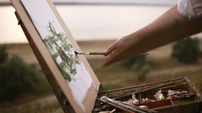 Close up of artist working on her future picture standing outdoors on a green meadow near the lake. Puts colours on stock video footage