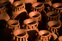 Close-up of Artistic Earthen Wares Stock Images