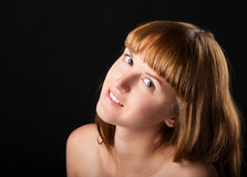 Close-up artistic portrait of attractive positive girl Royalty Free Stock Image