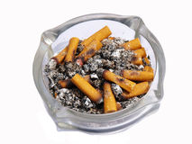 Close up of ashtray and cigarettes. On white background royalty free stock photos