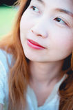 Close up of asia beautiful young happy smiling woman Royalty Free Stock Photos