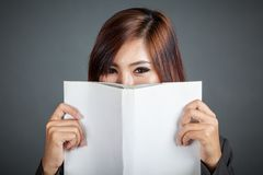 Close up of Asian business girl hold a book Stock Image