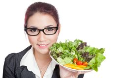 Close up Asian business woman with salad Stock Image
