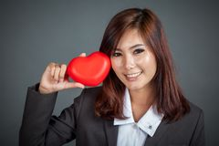Close up Asian businesswoman happy and smile  with red heart Royalty Free Stock Photos
