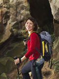 Close up of Asian Female Trekker on mountain stock images