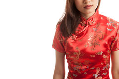 Close up of Asian girl in chinese cheongsam dress. stock photo
