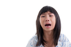 Close up Asian girl in pajamas crying on white. Stock Photo