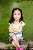 Closeup Asian little of girl wear cute clothes stock photo