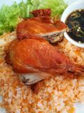 Close up of Asian style chicken rice in Vietnam Royalty Free Stock Photography