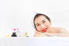 Close-up Asian woman beautiful woman in spa salon. Royalty Free Stock Photos