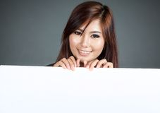 Close up Asian woman hold a blank sign Stock Images