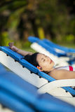 Close-up asian woman relax at beach resort Royalty Free Stock Photos