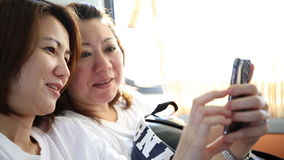 Close Up of Asian Woman's Face On A Train, Smiling At The View stock video