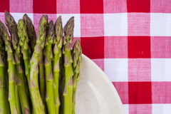 Close up of asparagus on plate Royalty Free Stock Images