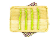 Close up Asparagus in wooden plate Stock Photography