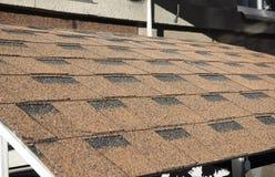 Close up on asphalt shingles house roof royalty free stock image
