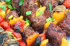 Close-up Of Assorted Beef, Tomato, Pepper and Mushrooms Kebabs Stock Photography