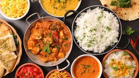 Assorted indian food. Close up on assorted indian dish royalty free stock images