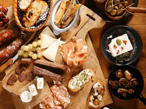 Close up Assorted Mouth Watering Tapas on Table Stock Photography