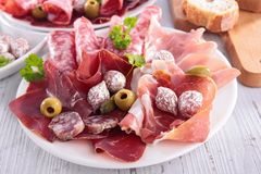 Assorted salami and bacon Stock Image