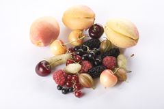 Close up of assorted summer berries and apricots Stock Photos