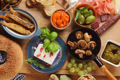 Close up Assorted Tapas Foods on Table Stock Images