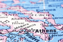 Close up of Athens on map, Greece. A close up shot of Athens on map, capital of Greece Stock Image