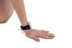 Close-up of athlete woman hand with wrist watch stock photos