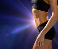 Close up of athletic female abs in sportswear Royalty Free Stock Photography