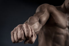 Close-up of athletic muscular arm and core