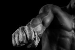 Close-up of athletic muscular arm and core stock photo