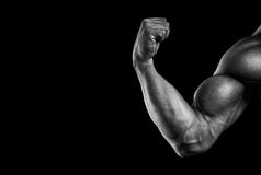 Close-up of athletic muscular hand. Close-up of a power fitness man's hand. Strong and handsome young man with muscles and biceps. Black and white photo Royalty Free Stock Image