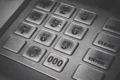 Close up ATM EPP machine keyboard or buttons of Automated Teller Machine Cash M Royalty Free Stock Photo