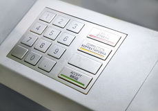Close up of an ATM machine. Keyboard Stock Photo