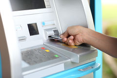 Close up ATM for withdraw your money in the outside Stock Images