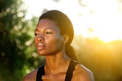 Close up attractive black sports woman outdoors Royalty Free Stock Photo